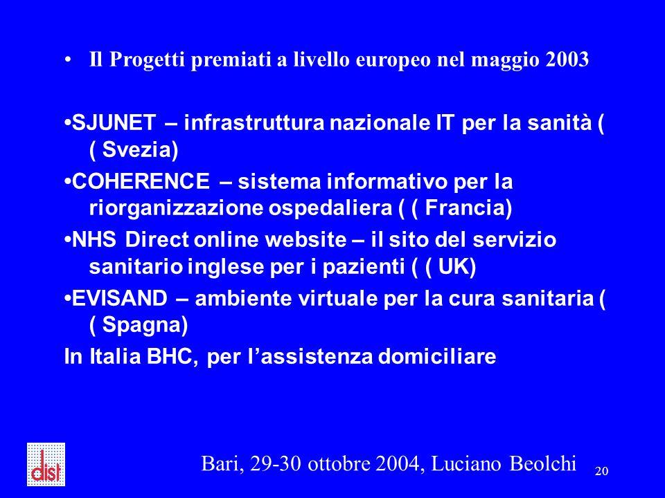 Bari, 29-30 ottobre 2004, Luciano Beolchi 20 Il Progetti premiati a livello europeo nel maggio 2003 SJUNET – infrastruttura nazionale IT per la sanità ( ( Svezia) COHERENCE – sistema informativo per la riorganizzazione ospedaliera ( ( Francia) NHS Direct online website – il sito del servizio sanitario inglese per i pazienti ( ( UK) EVISAND – ambiente virtuale per la cura sanitaria ( ( Spagna) In Italia BHC, per l'assistenza domiciliare