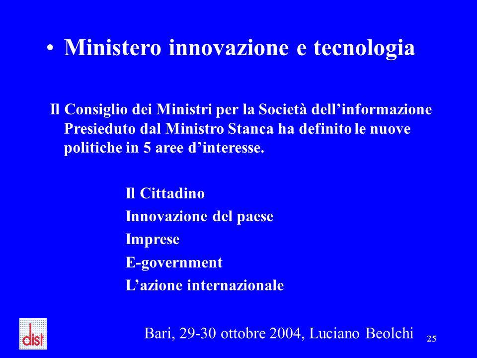 Bari, 29-30 ottobre 2004, Luciano Beolchi 25 Ministero innovazione e tecnologia Il Consiglio dei Ministri per la Società dell'informazione Presieduto dal Ministro Stanca ha definito le nuove politiche in 5 aree d'interesse.