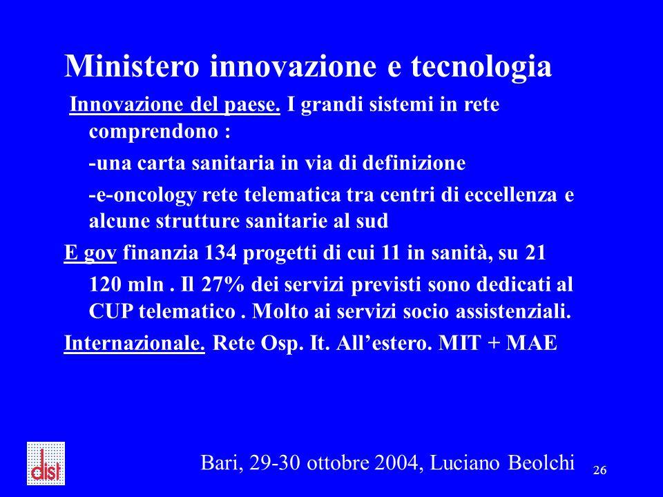Bari, 29-30 ottobre 2004, Luciano Beolchi 26 Ministero innovazione e tecnologia Innovazione del paese. I grandi sistemi in rete comprendono : -una car