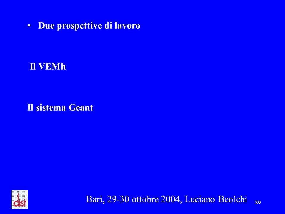 Bari, 29-30 ottobre 2004, Luciano Beolchi 29 Due prospettive di lavoro Il VEMh Il sistema Geant