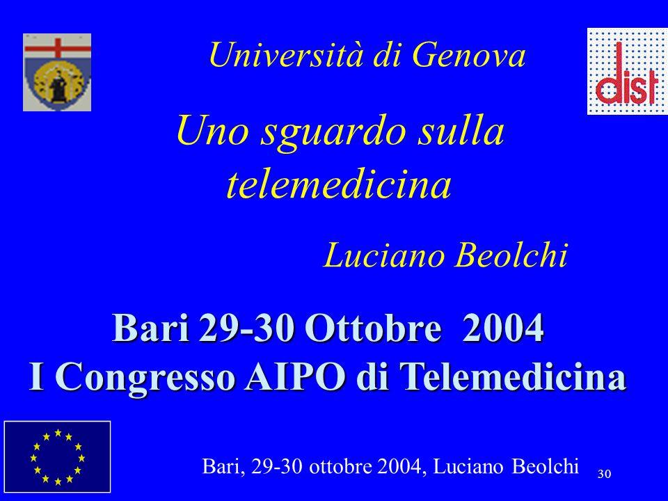 Bari, 29-30 ottobre 2004, Luciano Beolchi 30 Università di Genova Uno sguardo sulla telemedicina Luciano Beolchi Bari 29-30 Ottobre 2004 I Congresso A