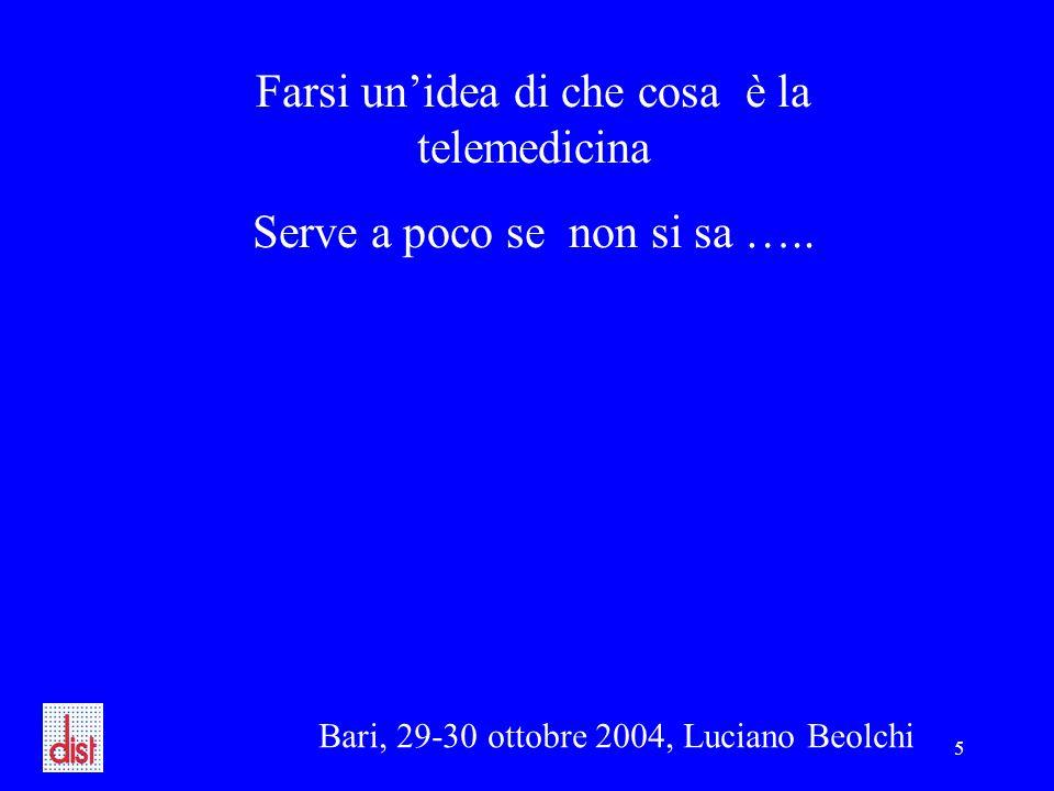 Bari, 29-30 ottobre 2004, Luciano Beolchi 5 Farsi un'idea di che cosa è la telemedicina Serve a poco se non si sa …..