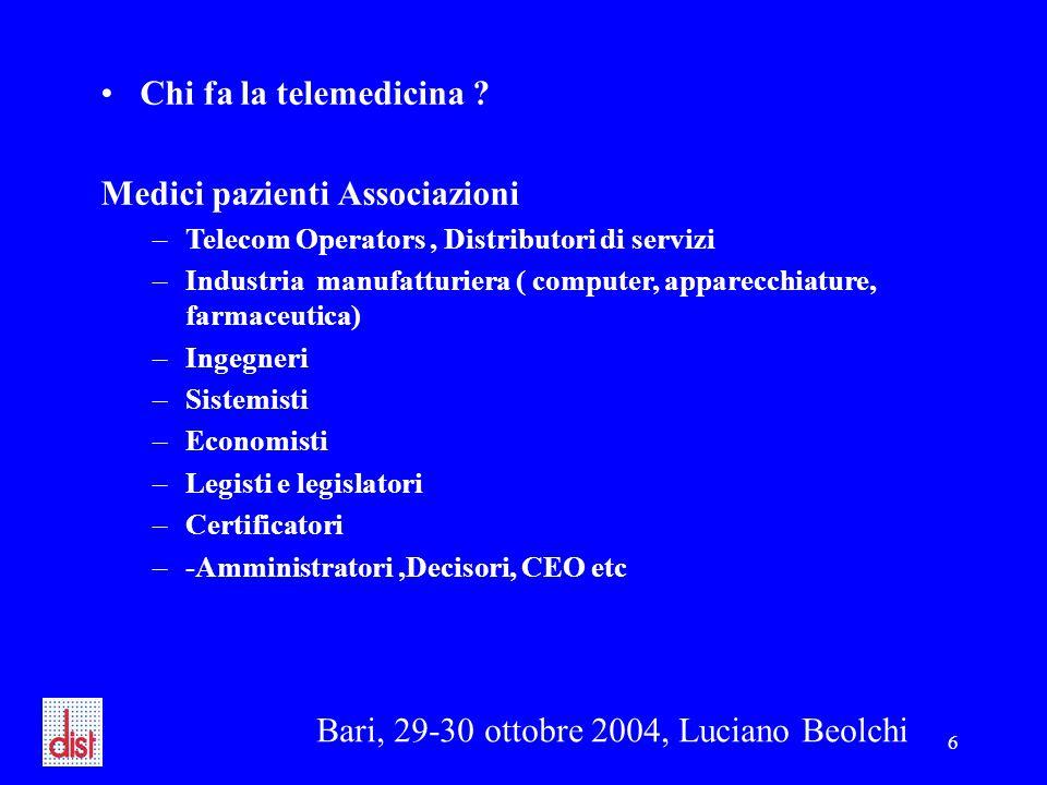 Bari, 29-30 ottobre 2004, Luciano Beolchi 6 Chi fa la telemedicina ? Medici pazienti Associazioni –Telecom Operators, Distributori di servizi –Industr