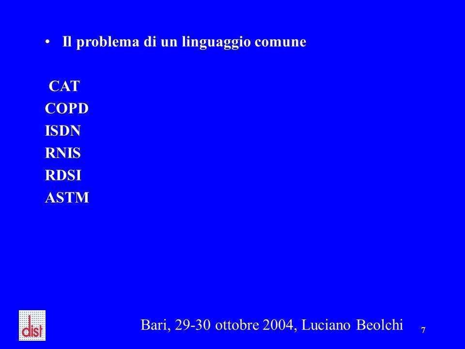 Bari, 29-30 ottobre 2004, Luciano Beolchi 7 Il problema di un linguaggio comune CAT COPD ISDN RNIS RDSI ASTM
