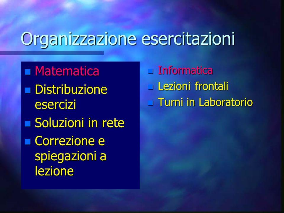Organizzazione esercitazioni n Matematica n Distribuzione esercizi n Soluzioni in rete n Correzione e spiegazioni a lezione n Informatica n Lezioni frontali n Turni in Laboratorio