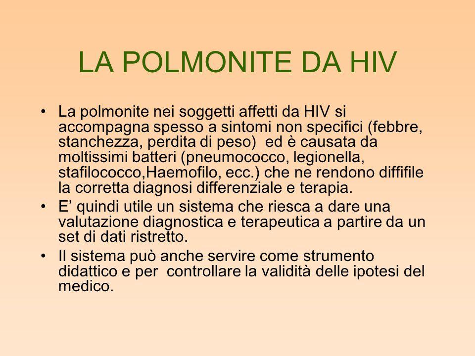 LA POLMONITE DA HIV La polmonite nei soggetti affetti da HIV si accompagna spesso a sintomi non specifici (febbre, stanchezza, perdita di peso) ed è causata da moltissimi batteri (pneumococco, legionella, stafilococco,Haemofilo, ecc.) che ne rendono diffifile la corretta diagnosi differenziale e terapia.