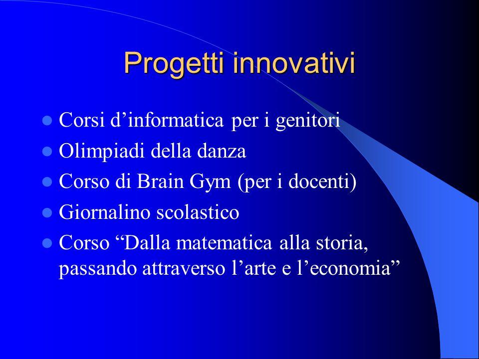 """Progetti innovativi Corsi d'informatica per i genitori Olimpiadi della danza Corso di Brain Gym (per i docenti) Giornalino scolastico Corso """"Dalla mat"""