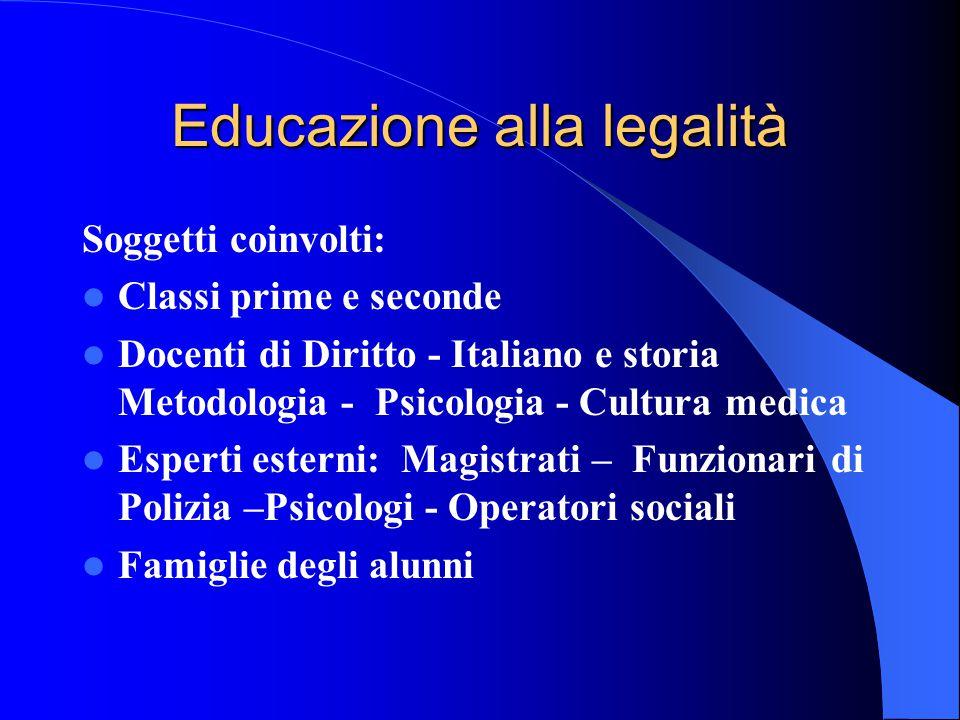 Educazione alla legalità Soggetti coinvolti: Classi prime e seconde Docenti di Diritto - Italiano e storia Metodologia - Psicologia - Cultura medica E