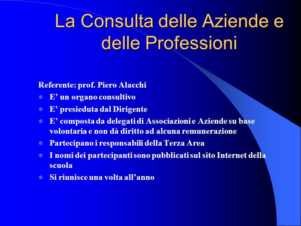 La Consulta delle Aziende e delle Professioni Referente: prof. Piero Alacchi E' un organo consultivo E' presieduta dal Dirigente E' composta da delega