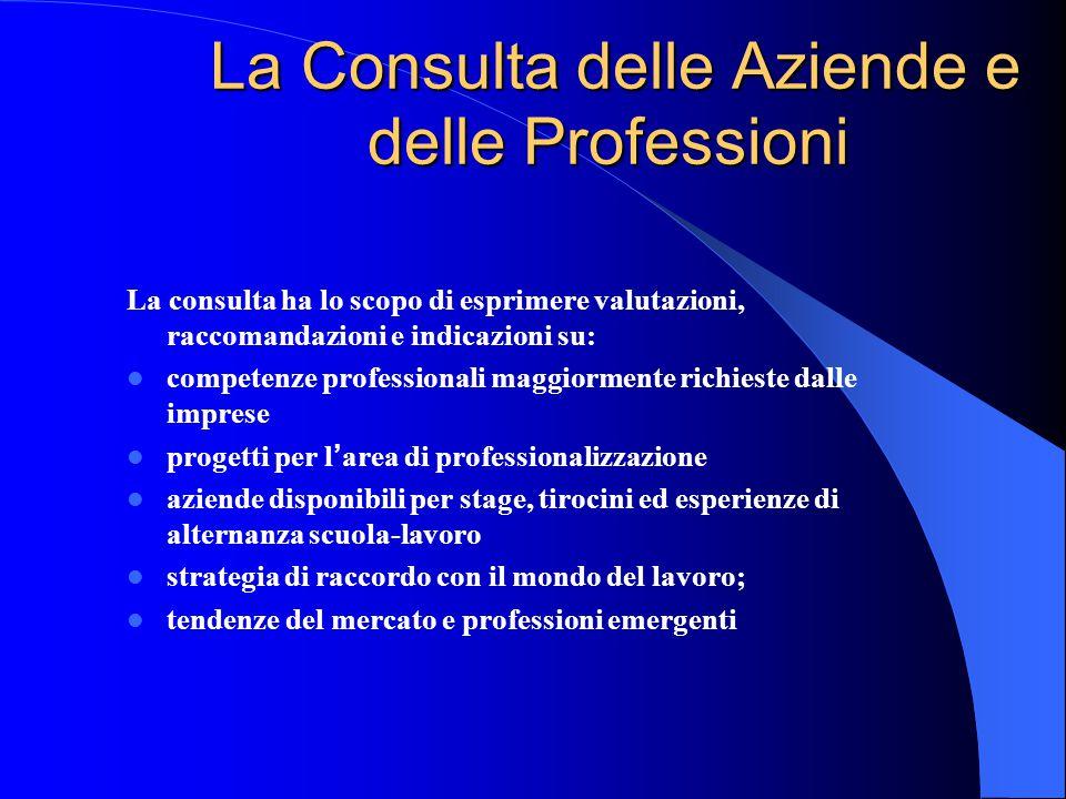 La Consulta delle Aziende e delle Professioni La Consulta delle Aziende e delle Professioni La consulta ha lo scopo di esprimere valutazioni, raccoman