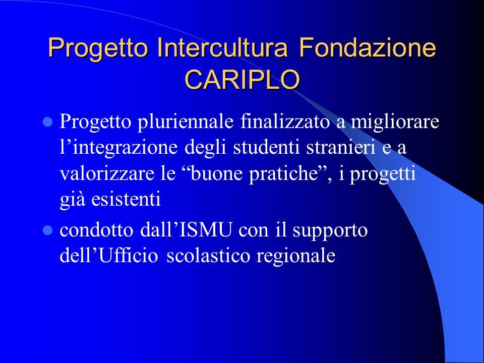 """Progetto Intercultura Fondazione CARIPLO Progetto pluriennale finalizzato a migliorare l'integrazione degli studenti stranieri e a valorizzare le """"buo"""