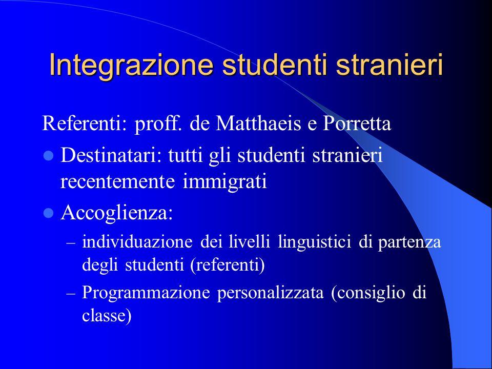 Integrazione studenti stranieri Referenti: proff. de Matthaeis e Porretta Destinatari: tutti gli studenti stranieri recentemente immigrati Accoglienza