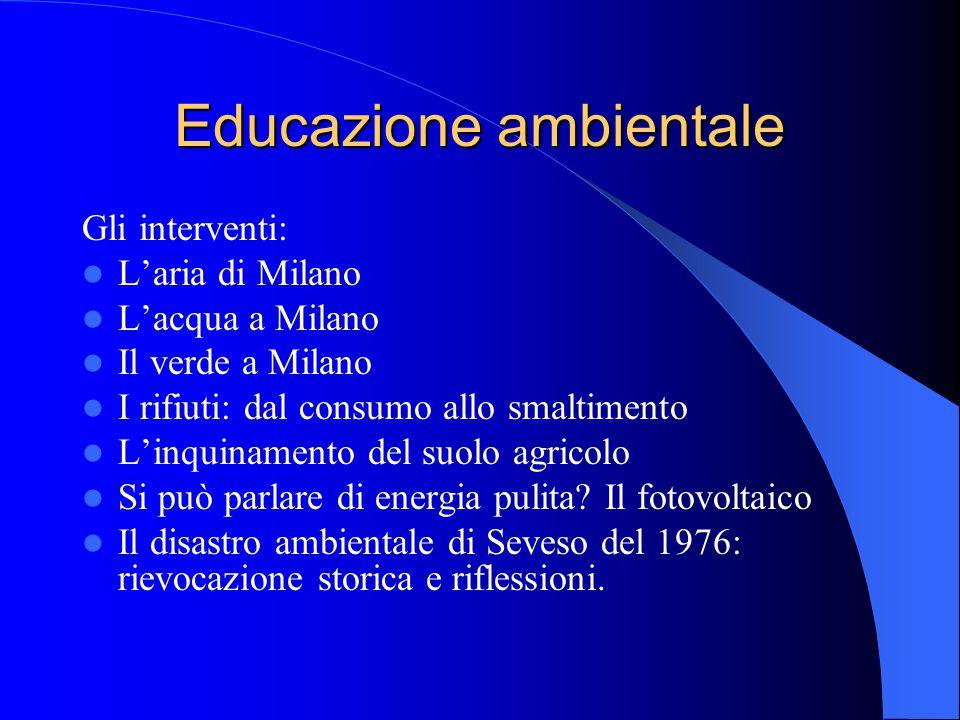 Educazione ambientale Gli interventi: L'aria di Milano L'acqua a Milano Il verde a Milano I rifiuti: dal consumo allo smaltimento L'inquinamento del s