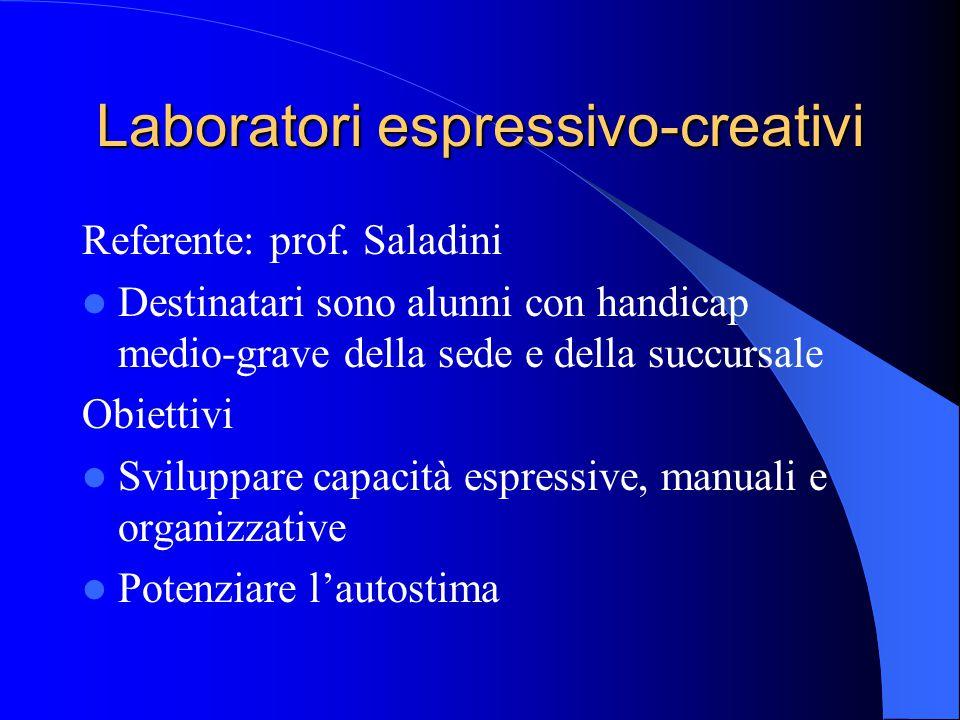 Laboratori espressivo-creativi Referente: prof. Saladini Destinatari sono alunni con handicap medio-grave della sede e della succursale Obiettivi Svil