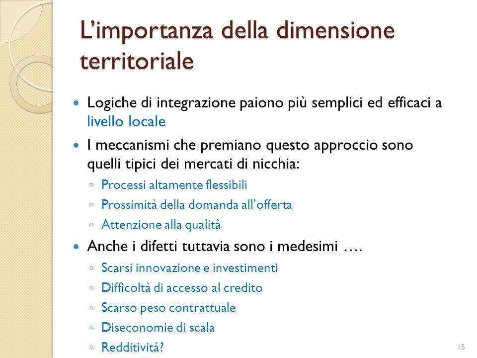 L'importanza della dimensione territoriale Logiche di integrazione paiono più semplici ed efficaci a livello locale I meccanismi che premiano questo a