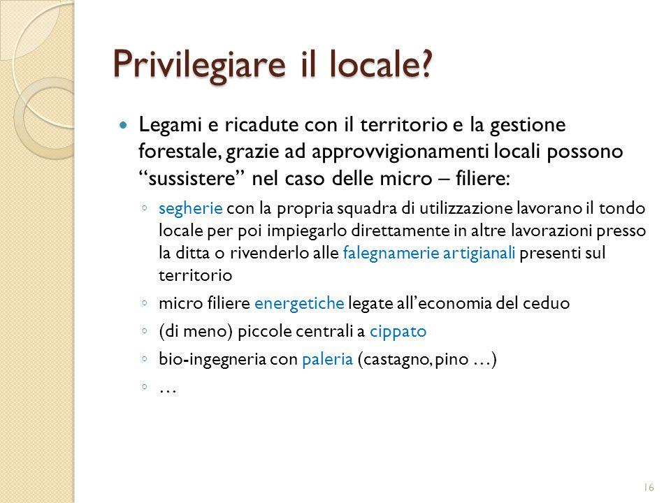 """Privilegiare il locale? Legami e ricadute con il territorio e la gestione forestale, grazie ad approvvigionamenti locali possono """"sussistere"""" nel caso"""