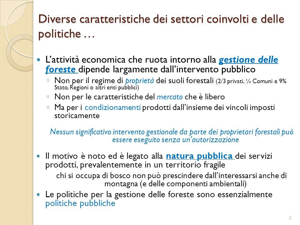 Diverse caratteristiche dei settori coinvolti e delle politiche … L'attività economica che ruota intorno alla gestione delle foreste dipende largament