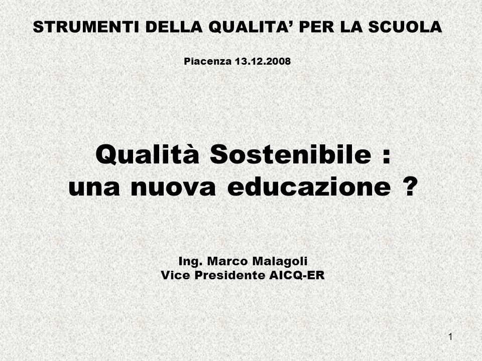 1 STRUMENTI DELLA QUALITA' PER LA SCUOLA Piacenza 13.12.2008 Qualità Sostenibile : una nuova educazione .
