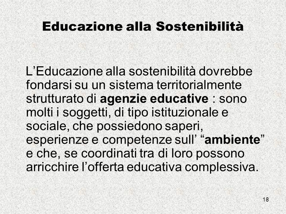 18 Educazione alla Sostenibilità L'Educazione alla sostenibilità dovrebbe fondarsi su un sistema territorialmente strutturato di agenzie educative : sono molti i soggetti, di tipo istituzionale e sociale, che possiedono saperi, esperienze e competenze sull' ambiente e che, se coordinati tra di loro possono arricchire l'offerta educativa complessiva.