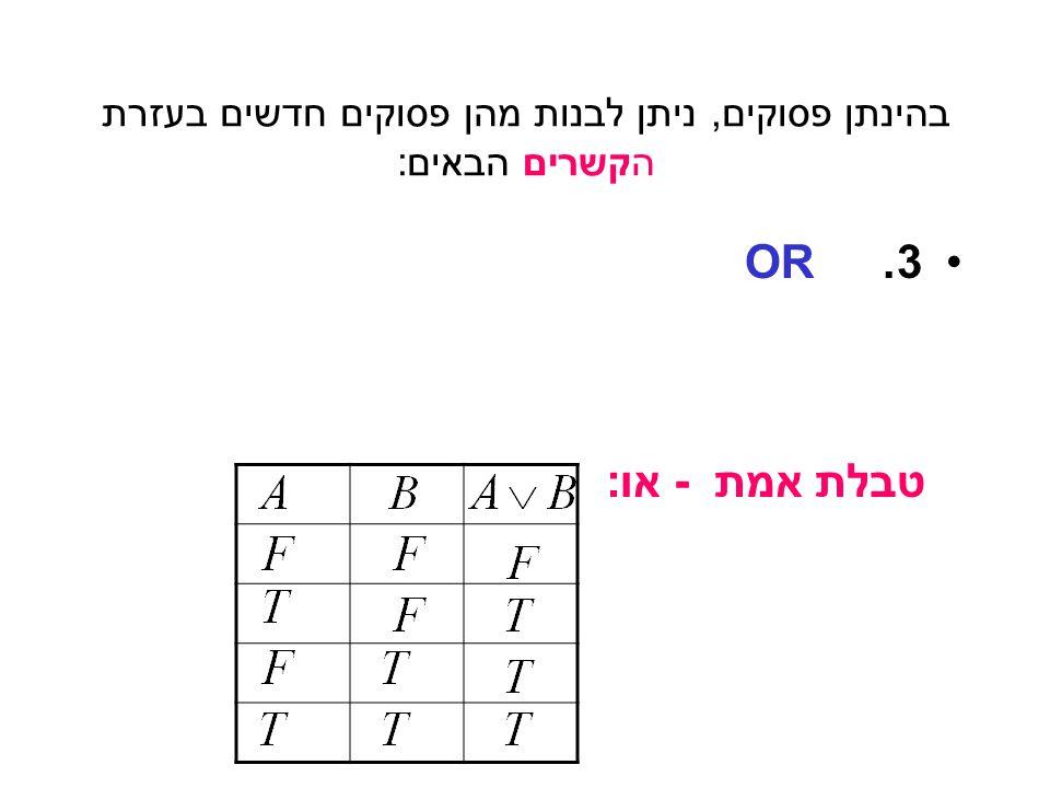 בהינתן פסוקים, ניתן לבנות מהן פסוקים חדשים בעזרת הקשרים הבאים: 2.