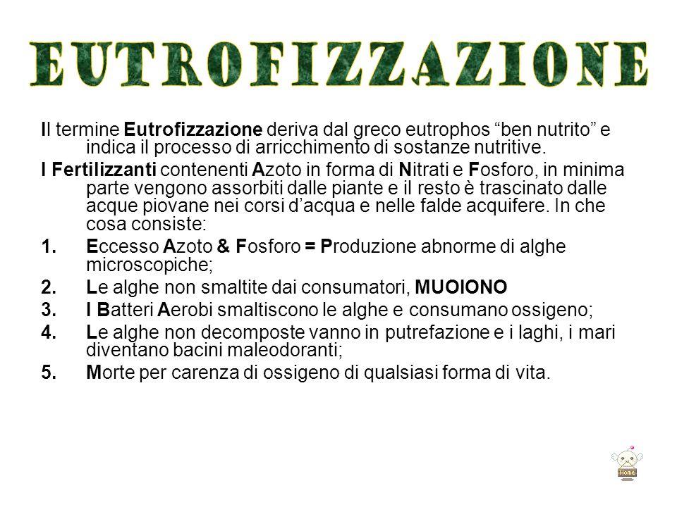 """Il termine Eutrofizzazione deriva dal greco eutrophos """"ben nutrito"""" e indica il processo di arricchimento di sostanze nutritive. I Fertilizzanti conte"""