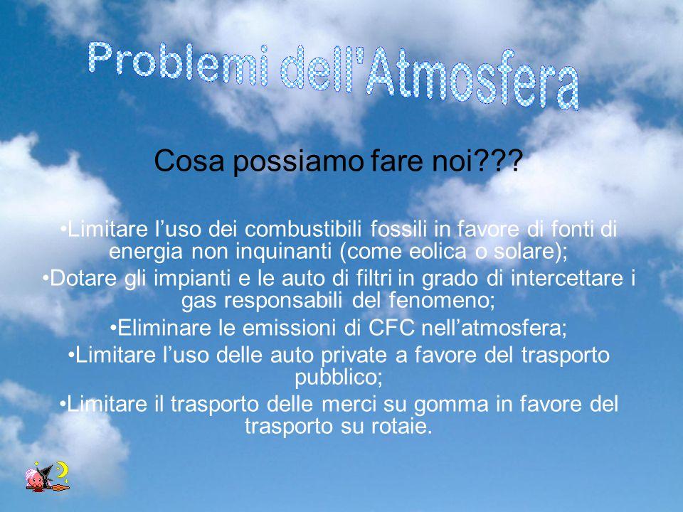 Cosa possiamo fare noi??? Limitare l'uso dei combustibili fossili in favore di fonti di energia non inquinanti (come eolica o solare); Dotare gli impi