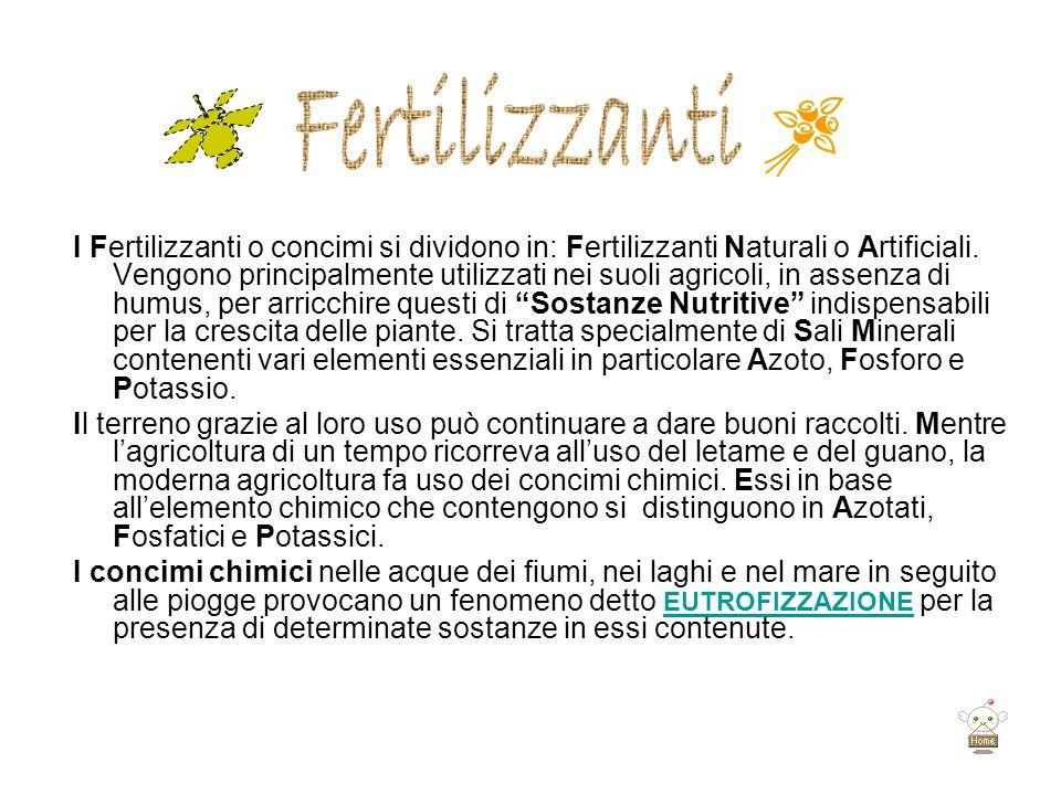 I Fertilizzanti o concimi si dividono in: Fertilizzanti Naturali o Artificiali. Vengono principalmente utilizzati nei suoli agricoli, in assenza di hu