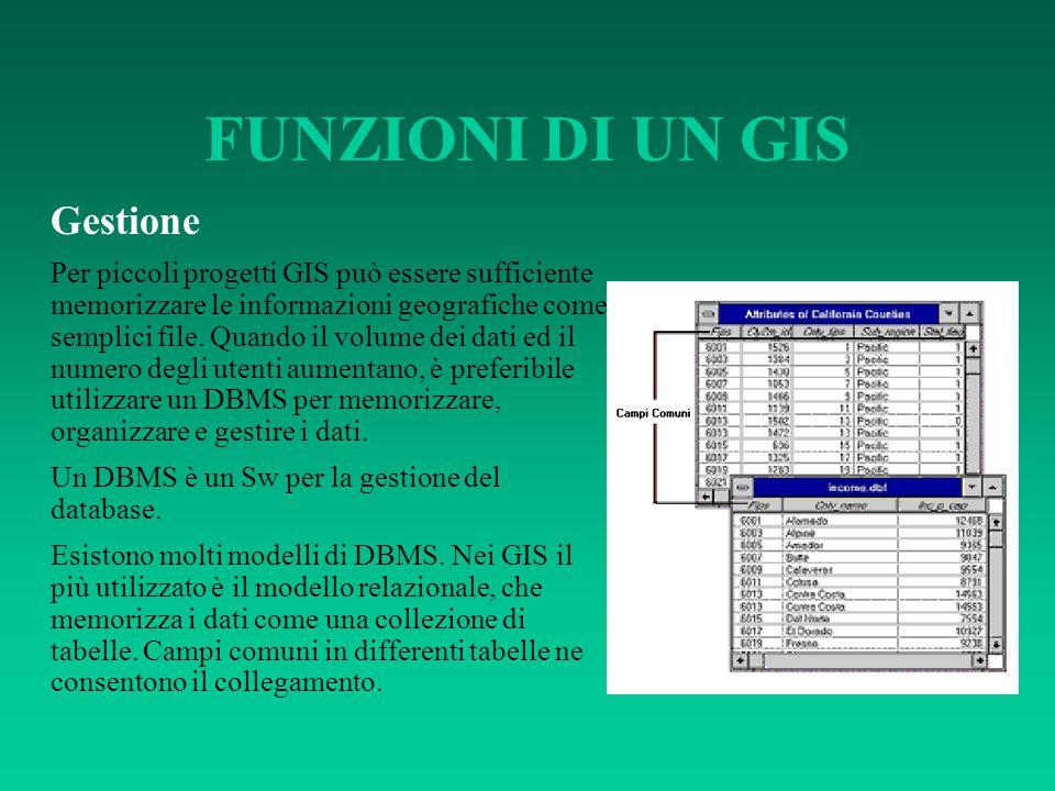 FUNZIONI DI UN GIS Gestione Per piccoli progetti GIS può essere sufficiente memorizzare le informazioni geografiche come semplici file. Quando il volu