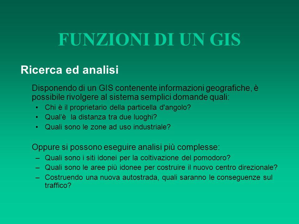 FUNZIONI DI UN GIS Ricerca ed analisi Disponendo di un GIS contenente informazioni geografiche, è possibile rivolgere al sistema semplici domande qual