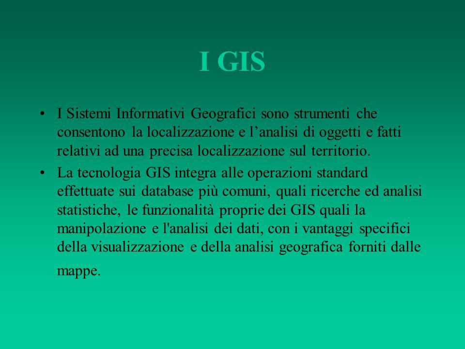 I GIS Tutti i fatti di cui trattiamo normalmente hanno una dimensione geografica, per il semplice motivo che si riferiscono ad uno specifico territorio.