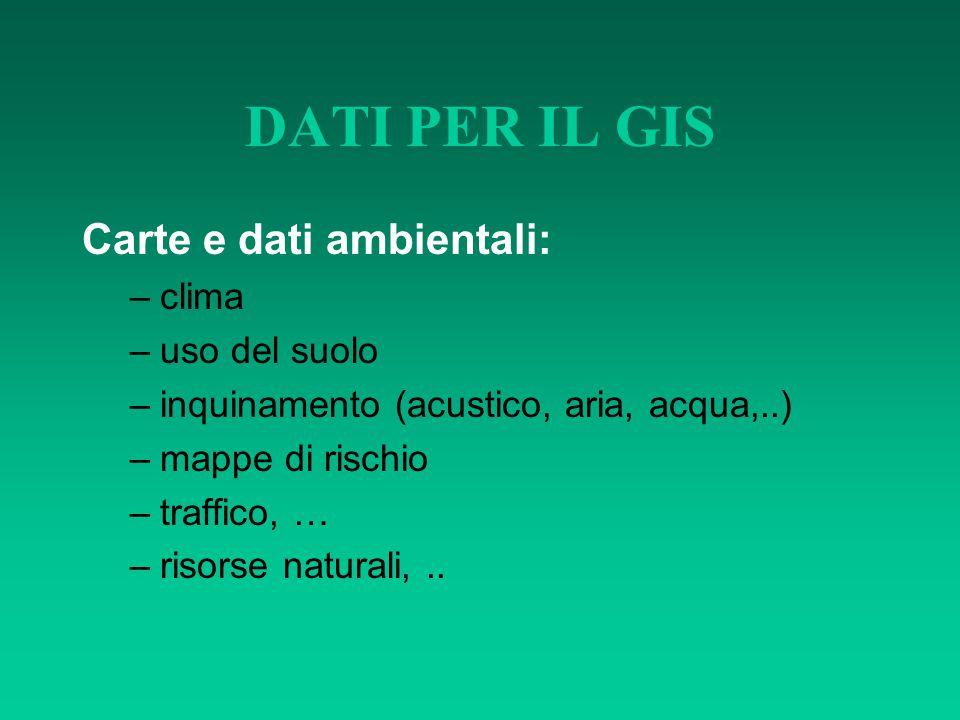 DATI PER IL GIS Carte e dati ambientali: –clima –uso del suolo –inquinamento (acustico, aria, acqua,..) –mappe di rischio –traffico, … –risorse natura