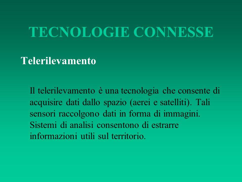 TECNOLOGIE CONNESSE Telerilevamento Il telerilevamento è una tecnologia che consente di acquisire dati dallo spazio (aerei e satelliti). Tali sensori
