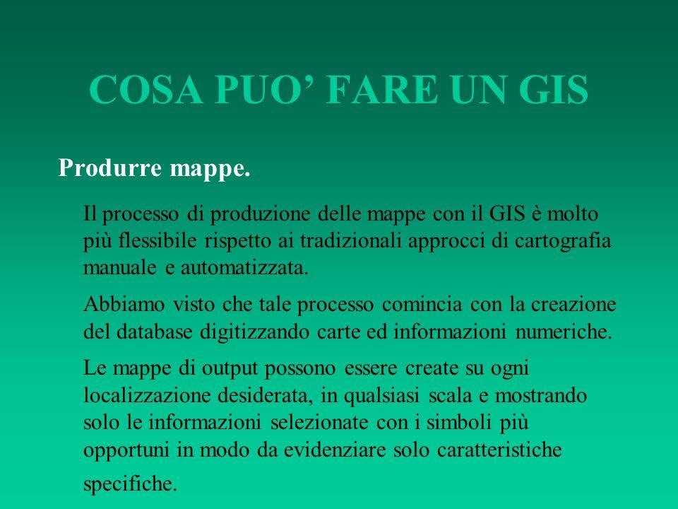 COSA PUO' FARE UN GIS Produrre mappe. Il processo di produzione delle mappe con il GIS è molto più flessibile rispetto ai tradizionali approcci di car