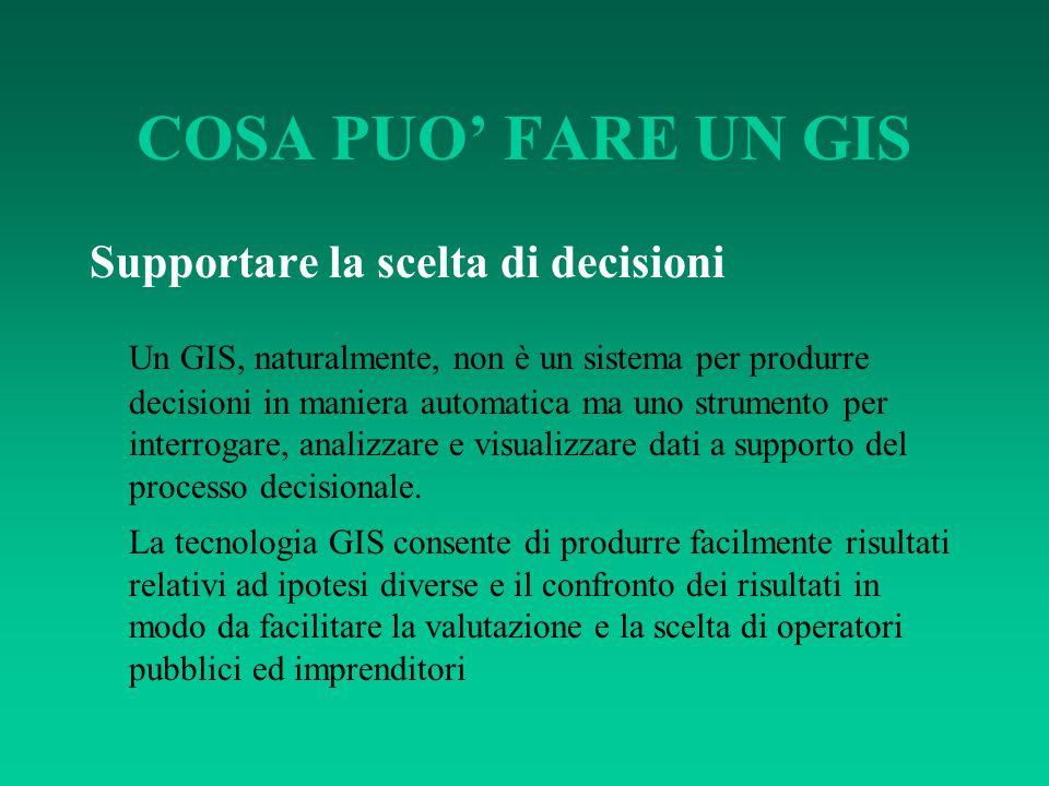 COSA PUO' FARE UN GIS Supportare la scelta di decisioni Un GIS, naturalmente, non è un sistema per produrre decisioni in maniera automatica ma uno str