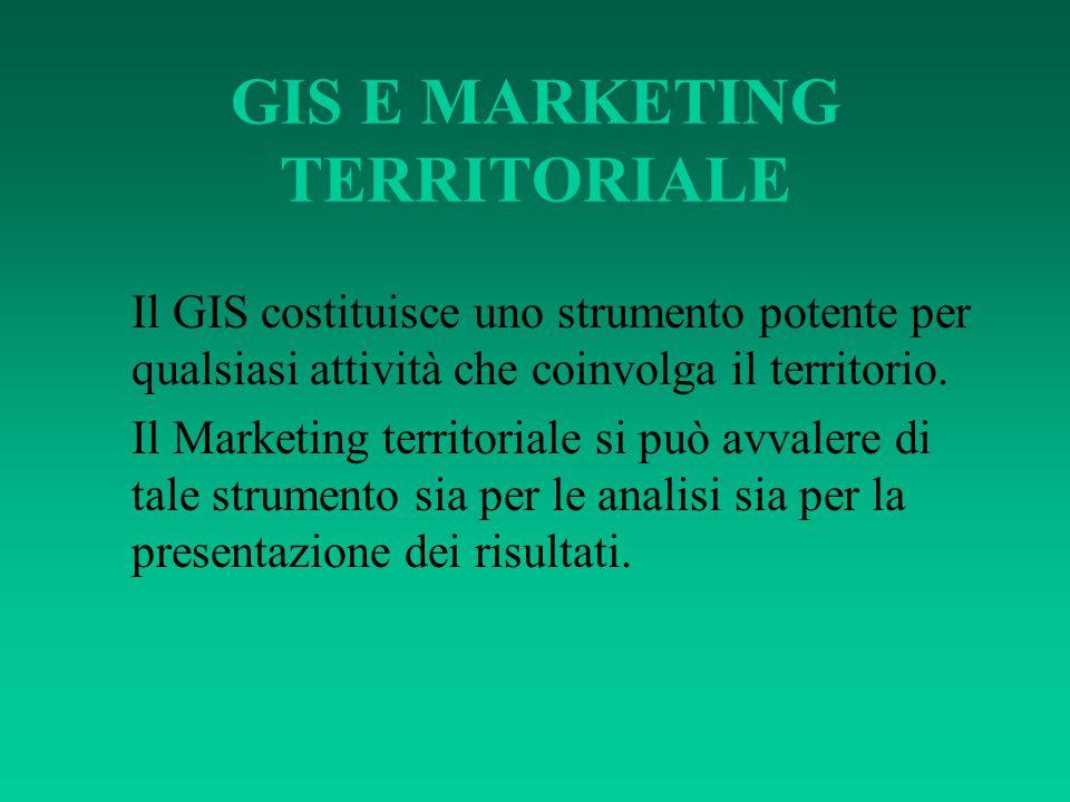 GIS E MARKETING TERRITORIALE Il GIS costituisce uno strumento potente per qualsiasi attività che coinvolga il territorio. Il Marketing territoriale si