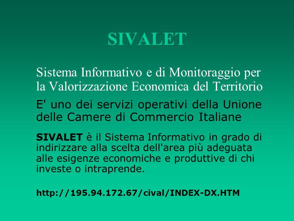 SIVALET Sistema Informativo e di Monitoraggio per la Valorizzazione Economica del Territorio E' uno dei servizi operativi della Unione delle Camere di