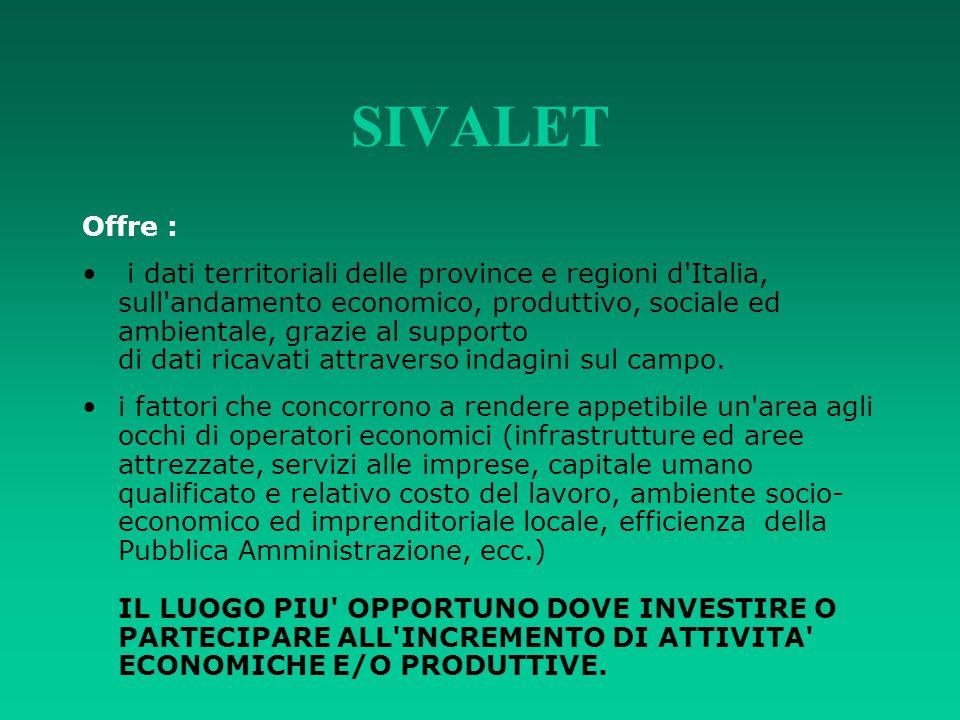 SIVALET Offre : i dati territoriali delle province e regioni d'Italia, sull'andamento economico, produttivo, sociale ed ambientale, grazie al supporto