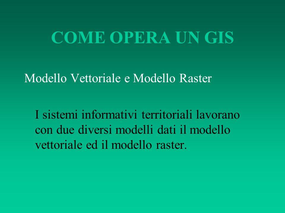 COME OPERA UN GIS Modello vettoriale Nel modello vettoriale, le informazioni fanno riferimento a: punti, linee e poligoni e sono codificate e memorizzate come una collezione di coordinate x,y.