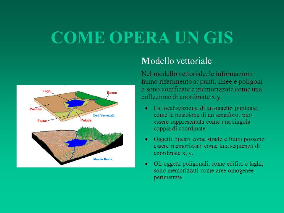 COME OPERA UN GIS Modello vettoriale Nel modello vettoriale, le informazioni fanno riferimento a: punti, linee e poligoni e sono codificate e memorizz