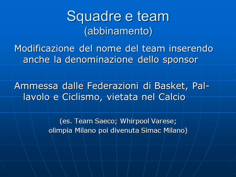 Squadre e team (abbinamento) Modificazione del nome del team inserendo anche la denominazione dello sponsor Ammessa dalle Federazioni di Basket, Pal- lavolo e Ciclismo, vietata nel Calcio (es.
