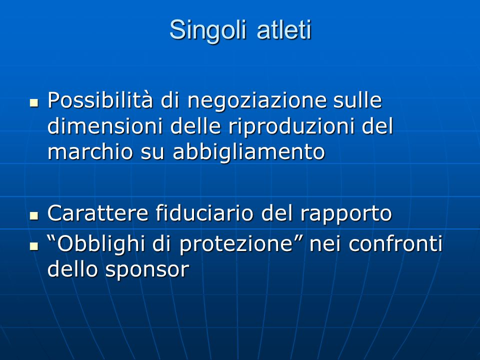 Singoli atleti Possibilità di negoziazione sulle dimensioni delle riproduzioni del marchio su abbigliamento Possibilità di negoziazione sulle dimensio