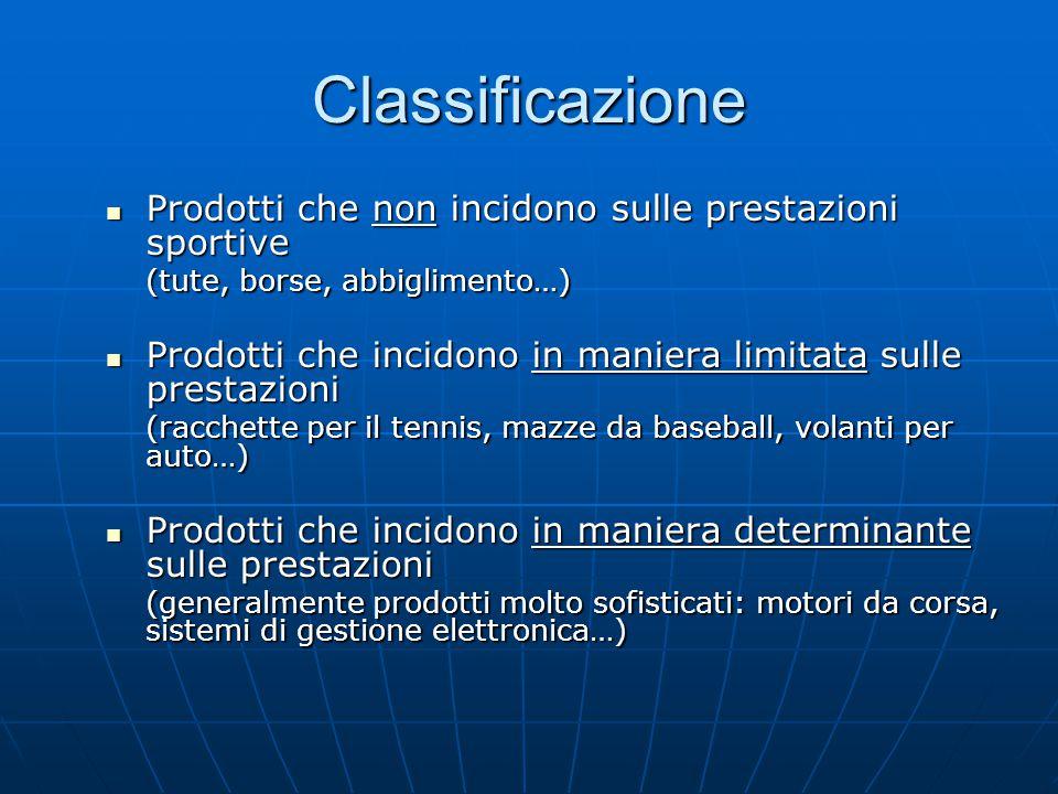 Classificazione Prodotti che non incidono sulle prestazioni sportive Prodotti che non incidono sulle prestazioni sportive (tute, borse, abbiglimento…)