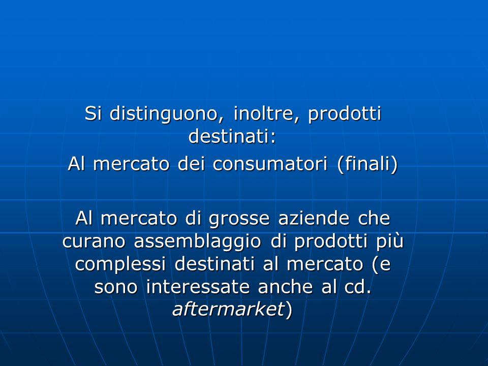 Si distinguono, inoltre, prodotti destinati: Al mercato dei consumatori (finali) Al mercato di grosse aziende che curano assemblaggio di prodotti più complessi destinati al mercato (e sono interessate anche al cd.