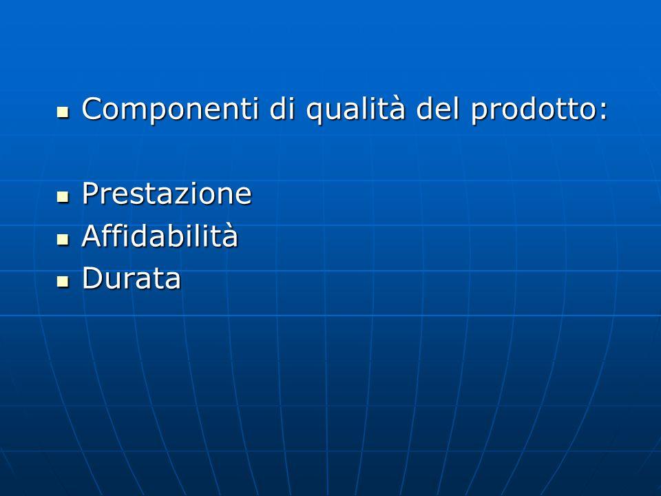 Componenti di qualità del prodotto: Componenti di qualità del prodotto: Prestazione Prestazione Affidabilità Affidabilità Durata Durata