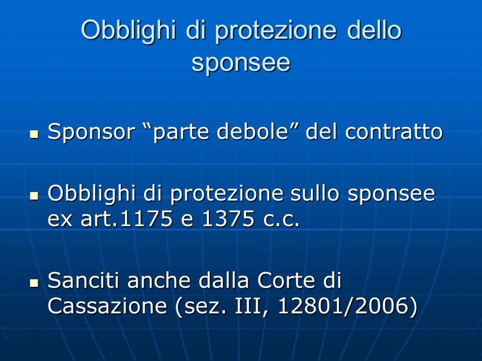 Obblighi di protezione dello sponsee Sponsor parte debole del contratto Sponsor parte debole del contratto Obblighi di protezione sullo sponsee ex art.1175 e 1375 c.c.