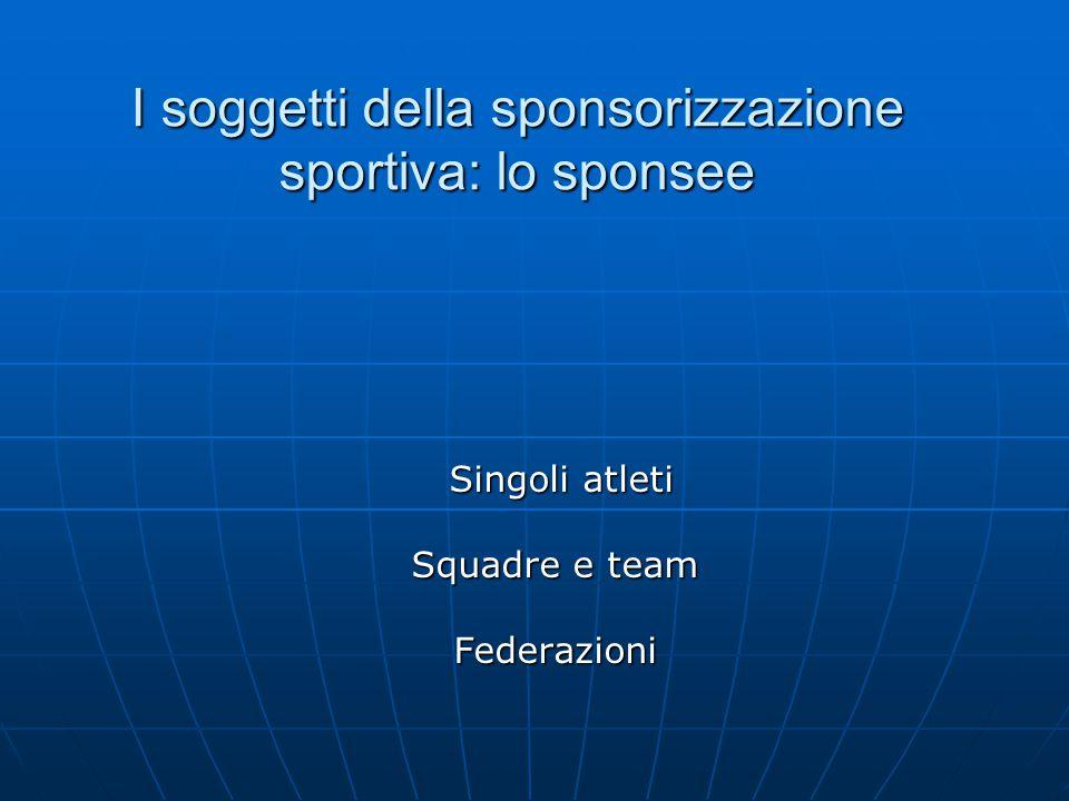 I soggetti della sponsorizzazione sportiva: lo sponsee Singoli atleti Singoli atleti Squadre e team Federazioni