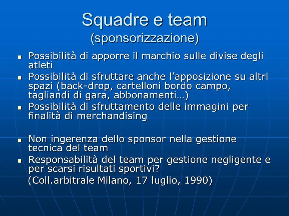Squadre e team (sponsorizzazione) Possibilità di apporre il marchio sulle divise degli atleti Possibilità di apporre il marchio sulle divise degli atl