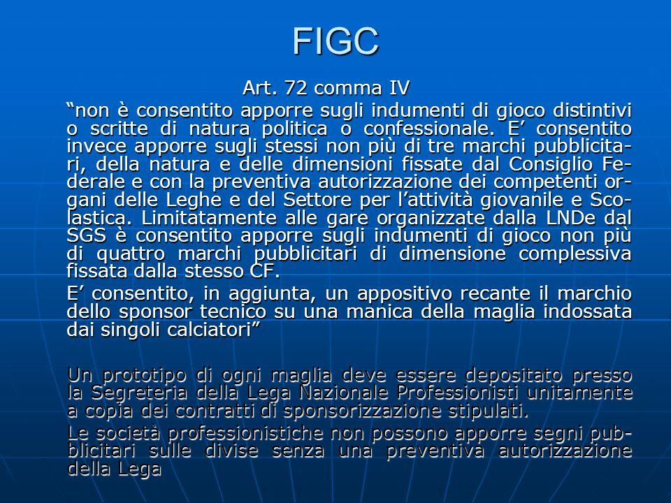 """FIGC Art. 72 comma IV """"non è consentito apporre sugli indumenti di gioco distintivi o scritte di natura politica o confessionale. E' consentito invece"""
