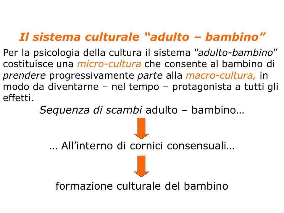 """16 Anolli, Psicologia della cultura, Il Mulino, 2004 Capitolo 4. LO SVILUPPO DELLA CULTURA NEL BAMBINO Il sistema culturale """"adulto – bambino"""" Per la"""