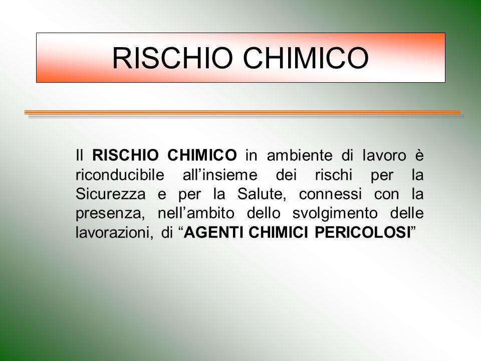 RISCHIO CHIMICO Il RISCHIO CHIMICO in ambiente di lavoro è riconducibile all'insieme dei rischi per la Sicurezza e per la Salute, connessi con la pres